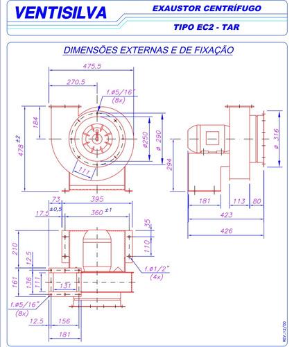 exaustor industrial centrífugo ventisilva trifásico ec2 tar