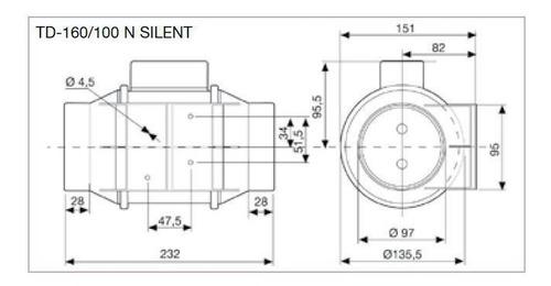 Exaustor P/banheiro Helicoc. Inline Td-160/100 N Silent-220v - R$ 364,27 em  Mercado Livre