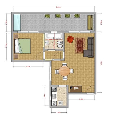exc. 2 amb, con balconterraza de 14m2