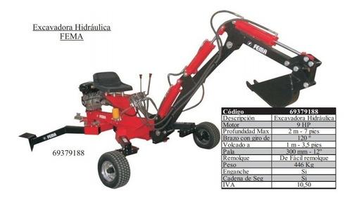 excavadora hidráulica fema 9 hp - profundidad max 2 mts