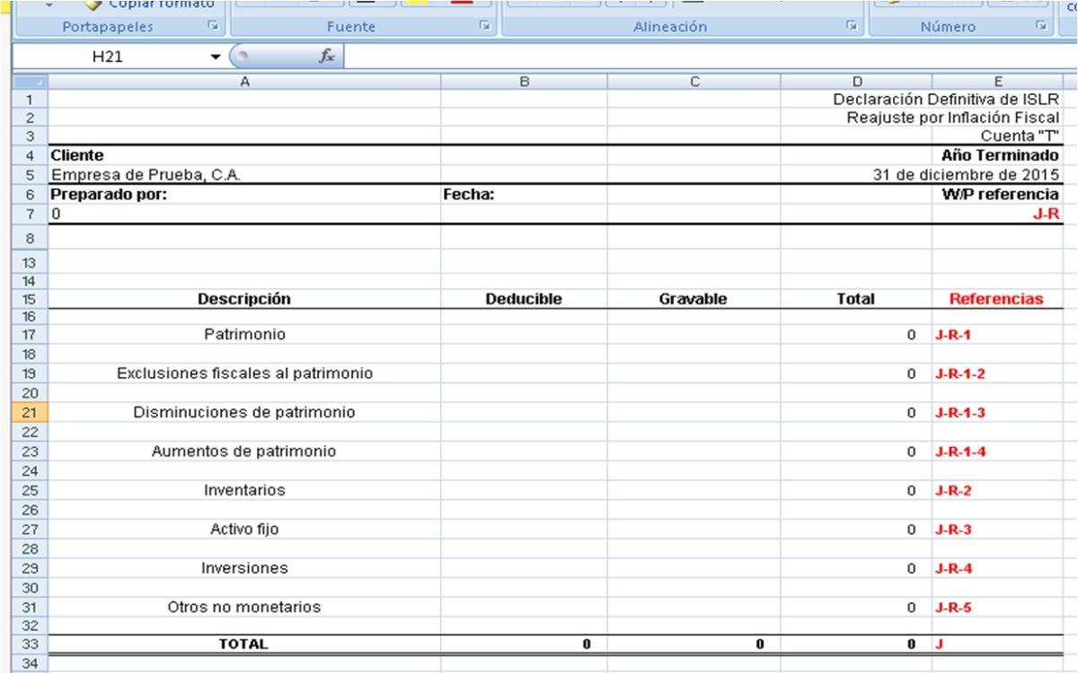 Excel Declaración Islr Conciliacion Y Ajuste Fiscal - Bs. 450.000,00 ...