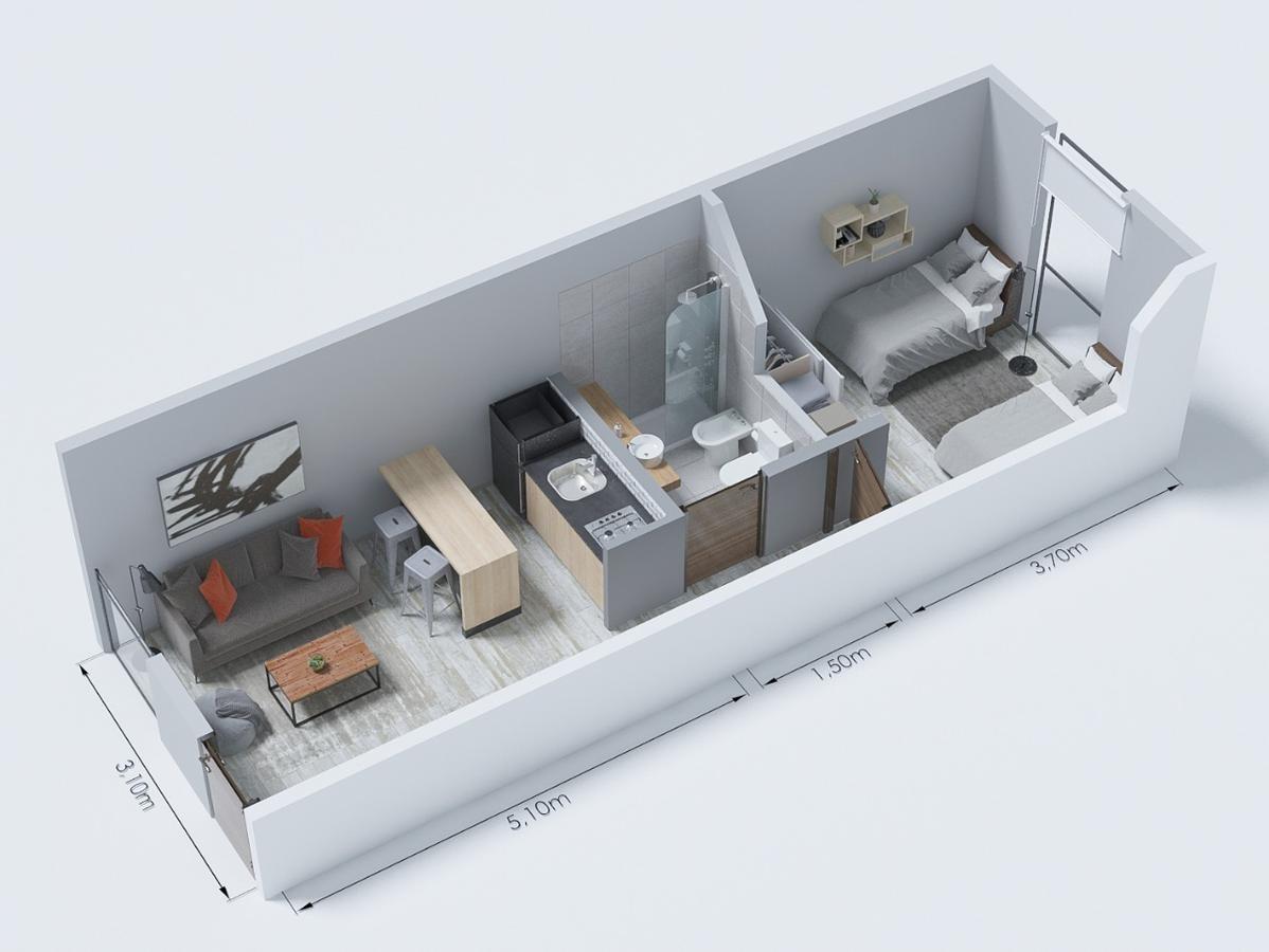 excelente 2 ambientes de 32 m2 cubiertos con cochera fija.