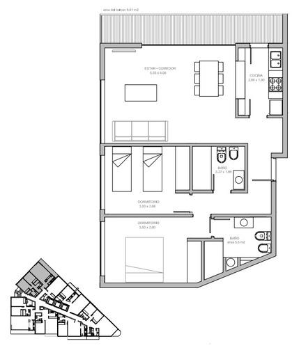 excelente 3 ambiente en la exclusiva torre gaudí - venta de pozo