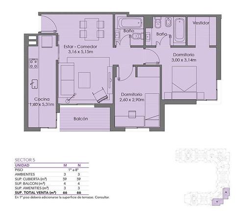 excelente 3 ambientes en el mejor complejo de villa del parque con cochera