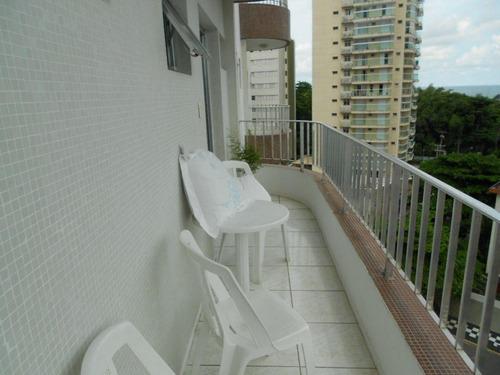 excelente apartamento 2 ds (1 ste) com linda vista para o tombo - ap0860