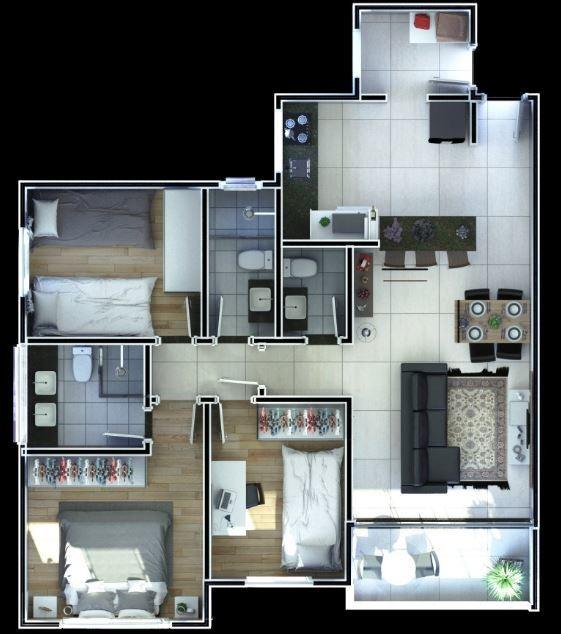 excelente apartamento 3qts no bairro sagrada familia - 6472