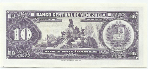 excelente billete 10 bolívares. junio 2 1964. serial s-7.