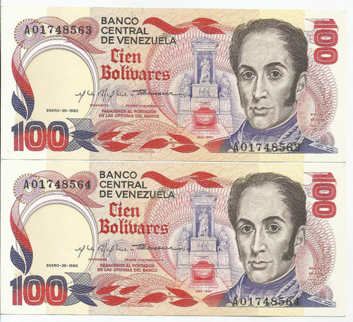 excelente billete 100 bolívares. enero 29 1980. serial a-8.