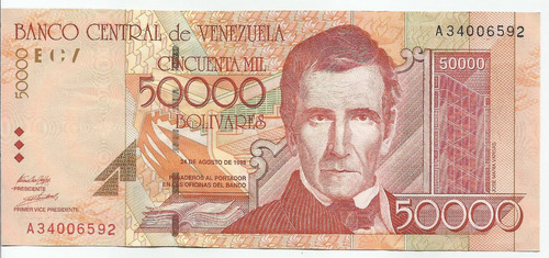 excelente billete 50.000 bs bolívares. año 1998. serial a-8