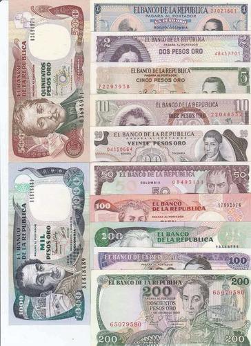 excelente colección de billetes de colombia antiguos