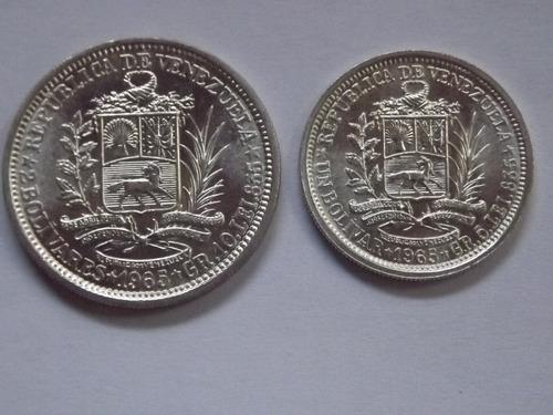 excelente dos monedas de plata: 2 bolívares y 1 bolívar (bs)