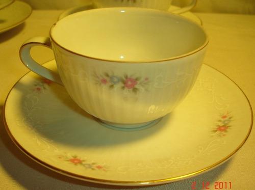 excelente juego de te y cafe porcelana tsuji 24 piezas 3844f