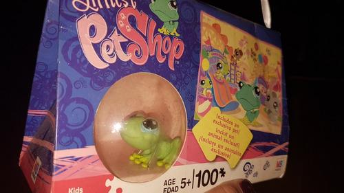 excelente littlest pet shop rana con rompecabezas 100pc
