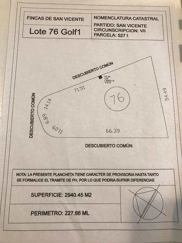 excelente lote 2950 m2 en barrio fincas de san vicente golf