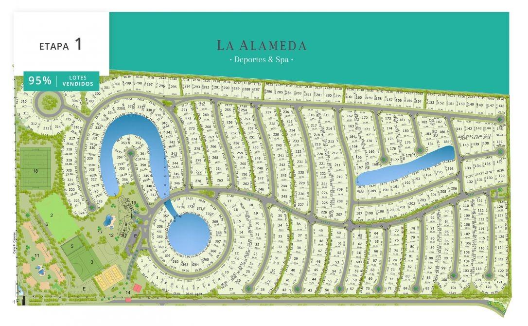 excelente lote 779 m2 barrio la alameda etapa 1, al lago.