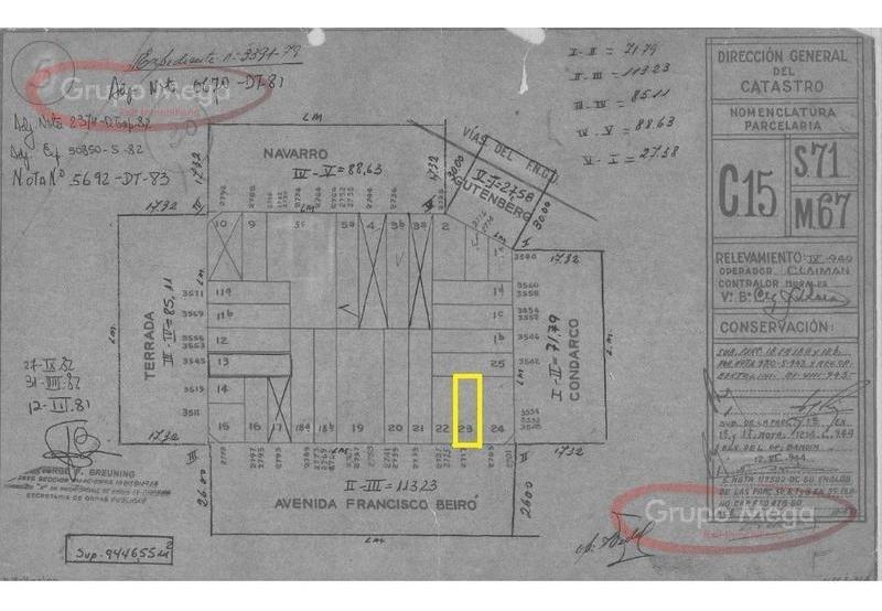 excelente lote 8.66x25,18- zonificación usaa- pb 7 pisos 1 piso retirado  1 retiro común-