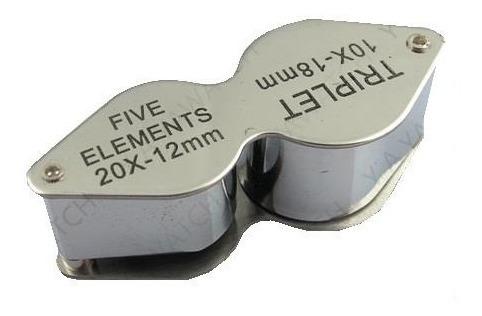 excelente lupa metalica doble 20x 12mm 10x 18mm geologia etc