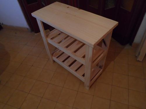 excelente mesa quesera, arrime, desayunador, pino 2 estantes