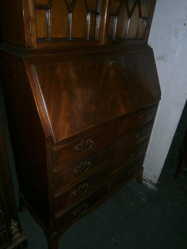 Excelente mueble secreter ingles en caoba con vitrina en mercado libre - Mueble secreter ...