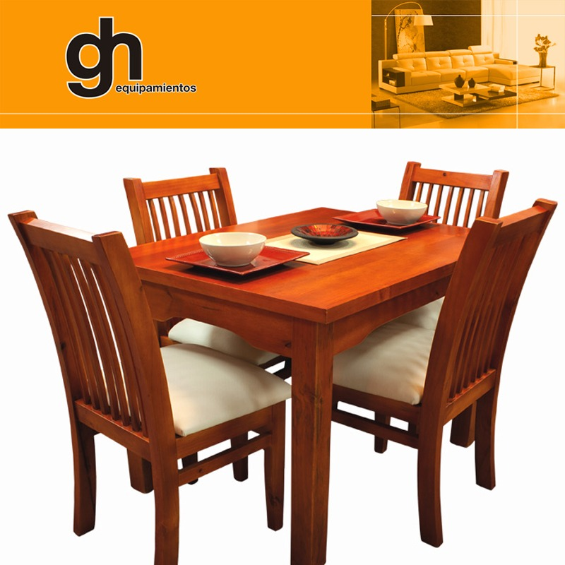 Excelente oferta comedor mesa y 4 sillas 100 madera gh for Sillas para comedor modernas en madera