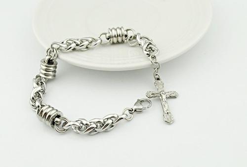 excelente pulsera esclava de acero inoxidable modelo rosario