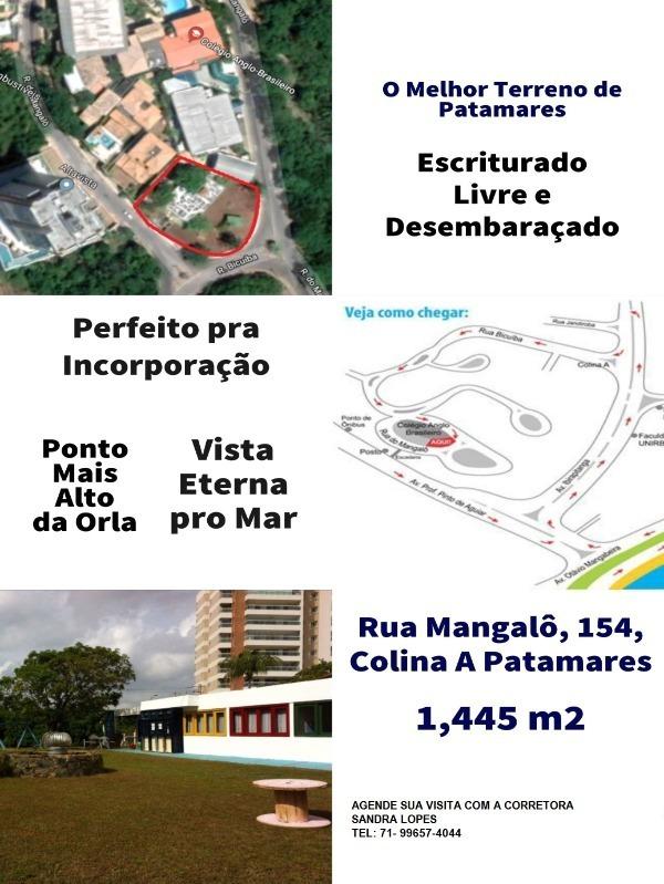 excelente terreno plano 1.445,00 m2 patamares - sfl184 - 34297419