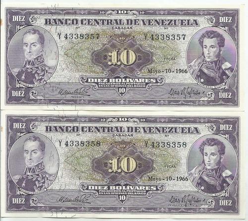 excelentes billetes 10 bolívares. mayo 10 1966. serial y-7
