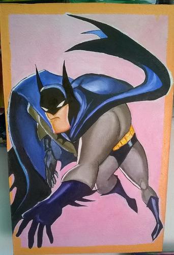 excelentes cuadros al oleo - batman - superman - nuevos