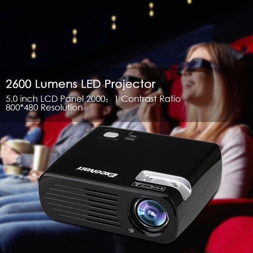 excelvan 2600 lumens 200 '' max portable mini led hd multime