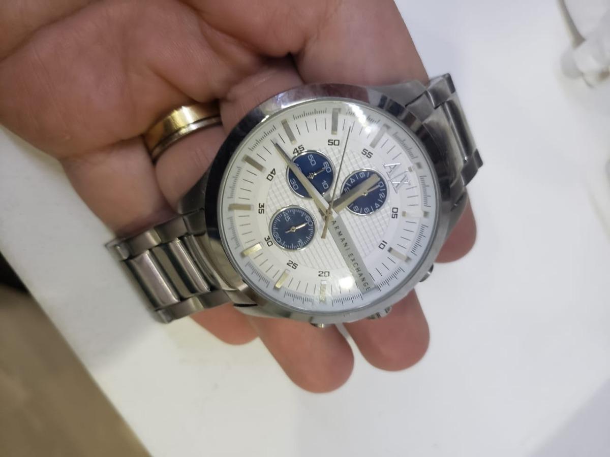 Carregando zoom... 3 relógio armani exchange ax2136 masculino original prata  azul 75ade0018b
