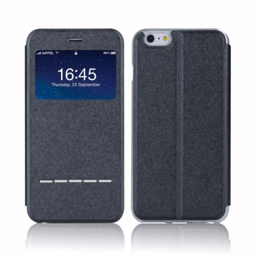 exclusiva funda con visualizador tipo cuero iphone 6 plus