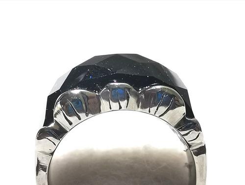 exclusivo anillo acero cristal negro estilo swarovs nirvana