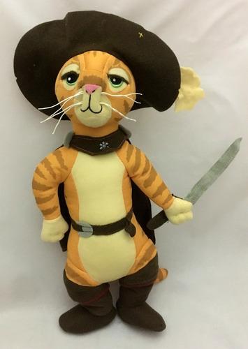 exclusivo! boneco macio gato de botas 35cm filme do shrek