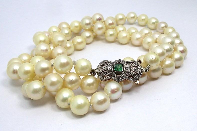 Venta caliente genuino zapatos elegantes sin impuesto de venta Exclusivo Collar De Perlas Naturales Broche Oro Y Esmeraldas