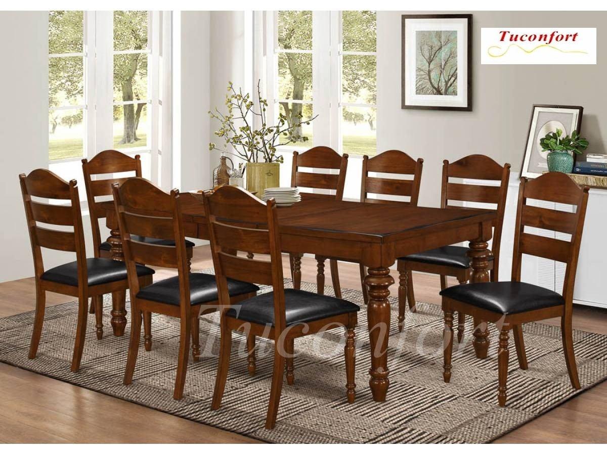 Exclusivo juego de comedor madera maciza 8 sillas for Comedor 8 sillas madera
