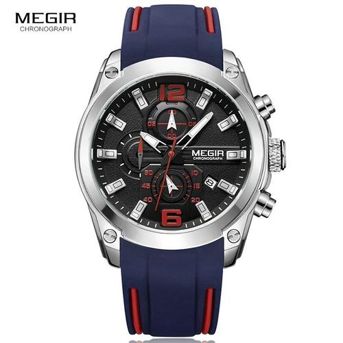 exclusivo reloj deportivo cronografo megir blue original