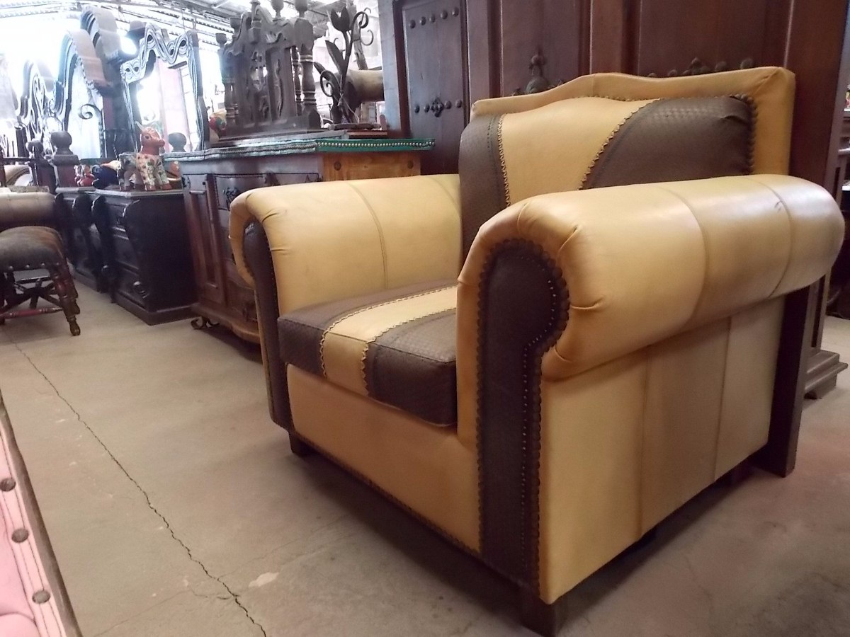 Exclusivo sillon sofa de madera y piel estilo antiguo for Estilos de sofas