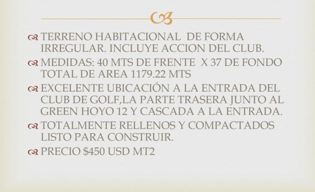 exclusivo terreno en venta en  yucatan country club