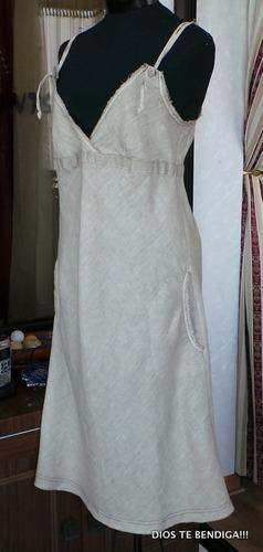 exclusivo vestido de lino de boutique ts