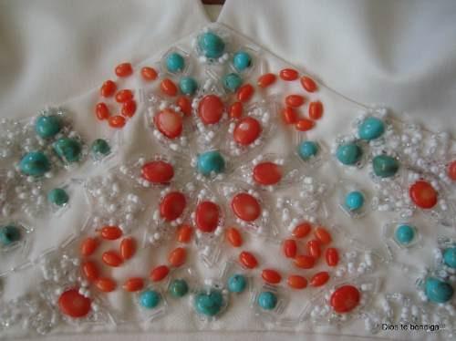 exclusivo vestido noche piedras coral y turquesas