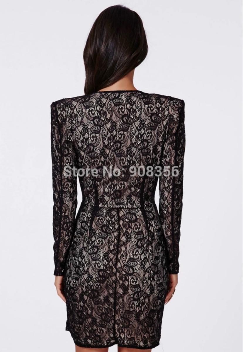 exclusivo y sexy vestido coctel importado negro manga larga. Cargando zoom. 7d4b0c26b5e5