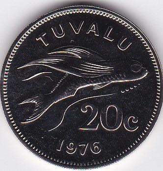 exelente estado! 20 cents 1976 - tuvalu - proof