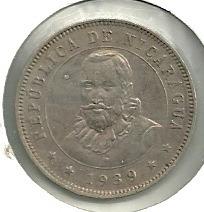 exelente estado! 25 centavos de cordoba 1939 nicaragua!