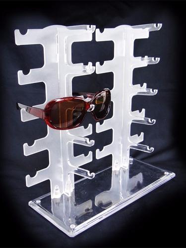 exhibidor 10 pares de lentes gafas acrilico blanco suxes sas
