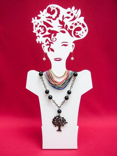 exhibidor de acrilico busto artistico p joyas aretes collar