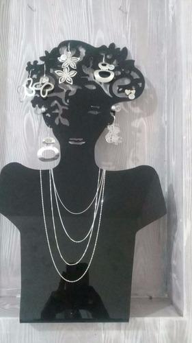 exhibidor de acrilico busto  para joyas aretes collar
