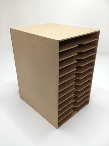 exhibidor de hojas ó papelera de mdf con acrilico