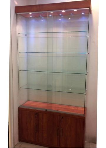 exhibidor vitrina mostrador mueble vidrio 8mm mdf color haya
