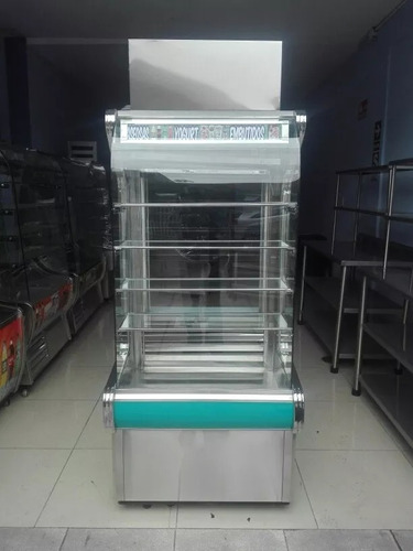exhibidoras refrigeradas con vidrio curvo acero inox