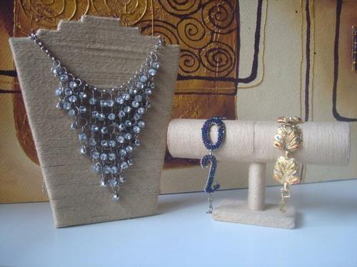 exhibidores rusticos de hilo cadenitas pulseras collares